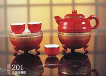高温红釉瓷鼎壶